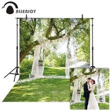 Allenjoy mariage photographie toile de fond printemps jardin herbe forêt fleur rideau fond photocall photophone photo studio