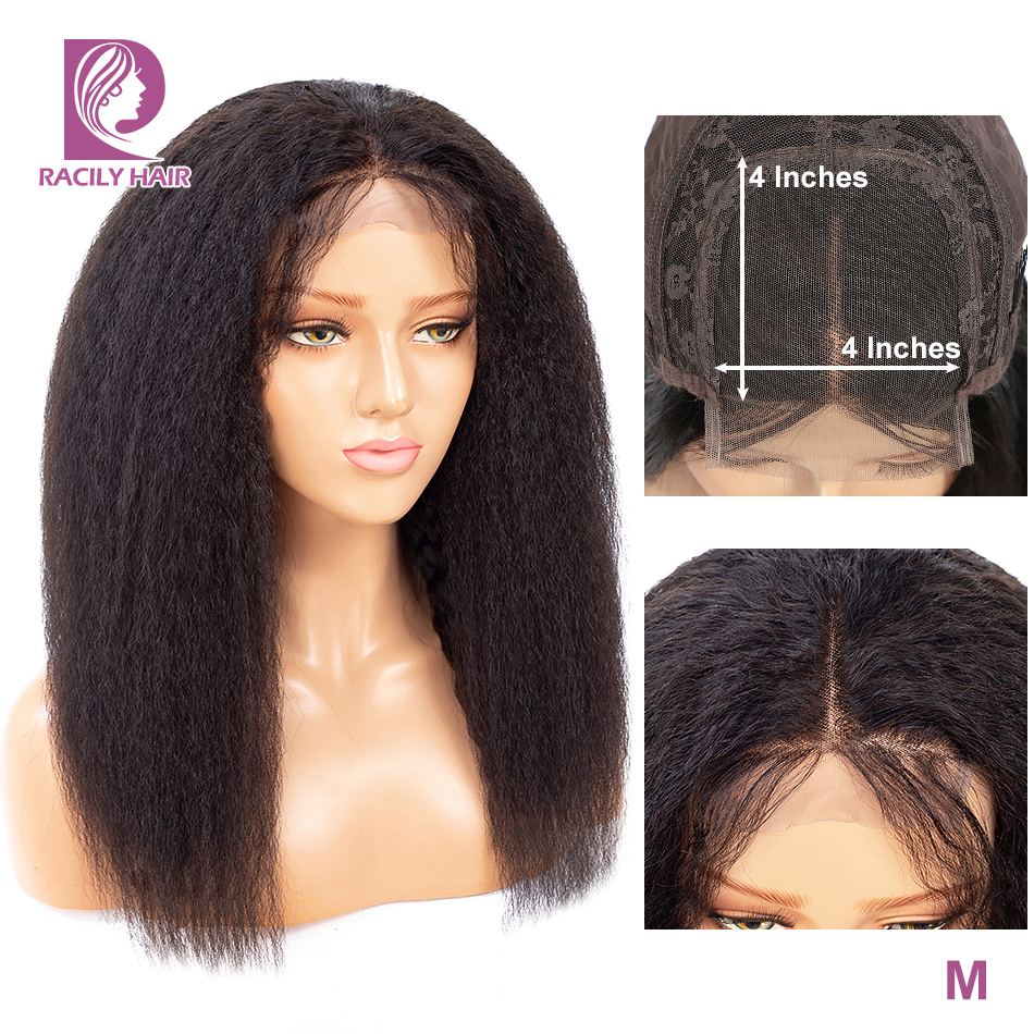 Racily Hair Brazilian Kinky Straight Wig Afro Human Hair Closure Wigs For Black Women 4x4 Lace Closure Wig With Baby Hair 10-26