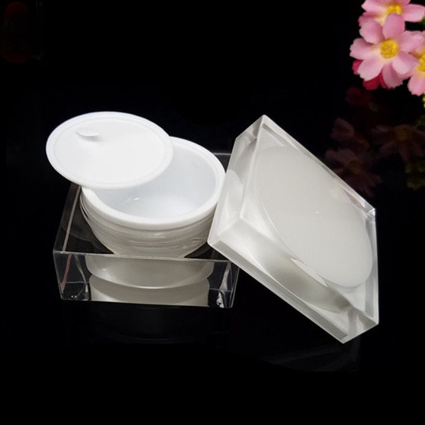 50G pearl white acrylic square  shape  jar tin pot bottle for day night cream essence  gel moisturizer skin care packing