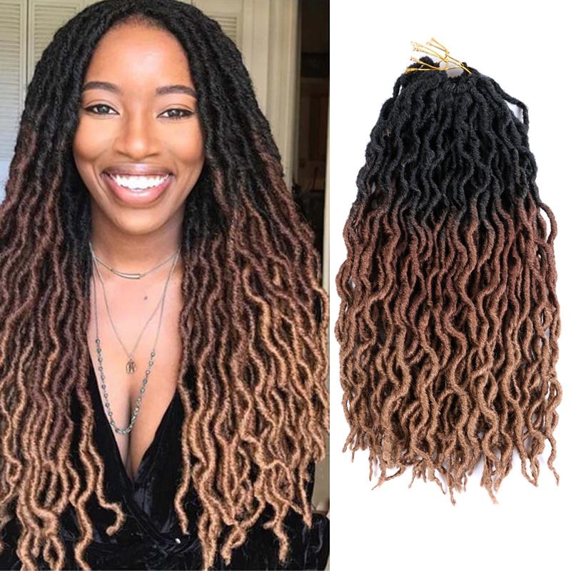 Ombre Goddess Faux Locs Crochet Hair 12''&18 Synthetic Braiding Hair Extensions Soft Dreads Dreadlocks Hair