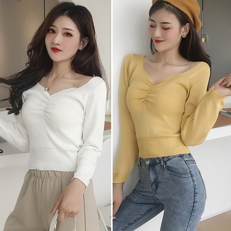 2019 autumn winter Women Knitted Sweater Women Solid V Neck Korean Style Sweaters Slim Pullover Femme tops 25 in Pullovers from Women 39 s Clothing