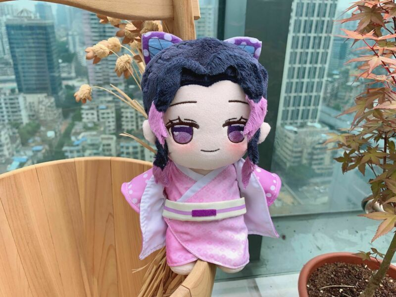 Anime Demon Slayer Kimetsu No Yaiba Kochou Shinobu Cute Cosplay Plush Doll Cushion Dress Up Clothing Toys Christmas Gifts 20cm