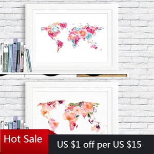 World Map Poster and Prints Girls Room Art Wall Decor Floral World Map Art Picture Frameless Canvas Painting Home Room Decor