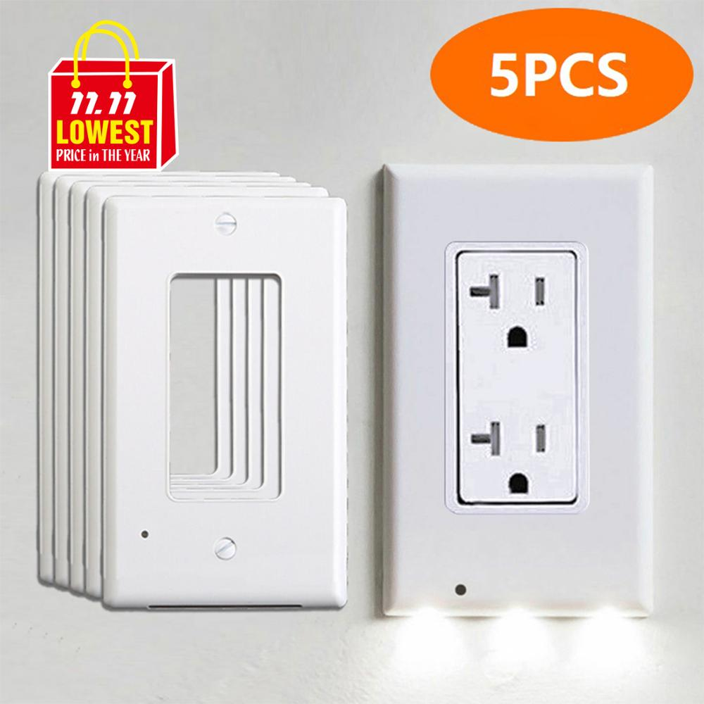 Kohree 5pcs Outlet Wall Plate With Led Night Lights, Safety Light Sensor Switch Socket Plug Cover Plate For Bedroom Kitchen