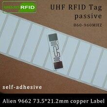 UHF RFID бирка Alien 9662 для печати медная бумага этикетка 915 МГц 900 МГц 868 МГц 860-960 МГц Higgs3 EPC 6C клей пассивный RFID этикетка