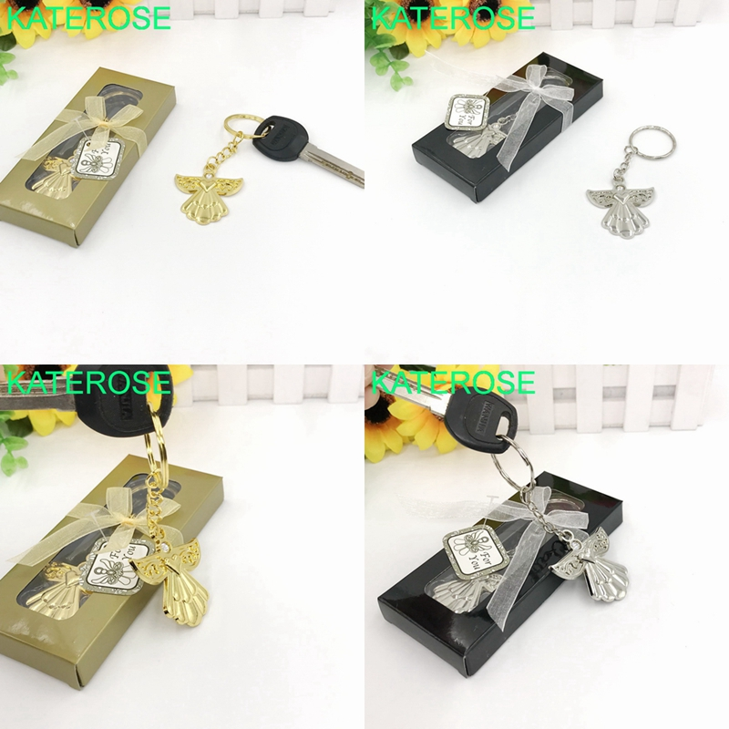 24PCS Baby Christening Gift Guardian Angel Gold/Silver Key Chain Favors Birthday Party Souvenir Baby Shower Favors
