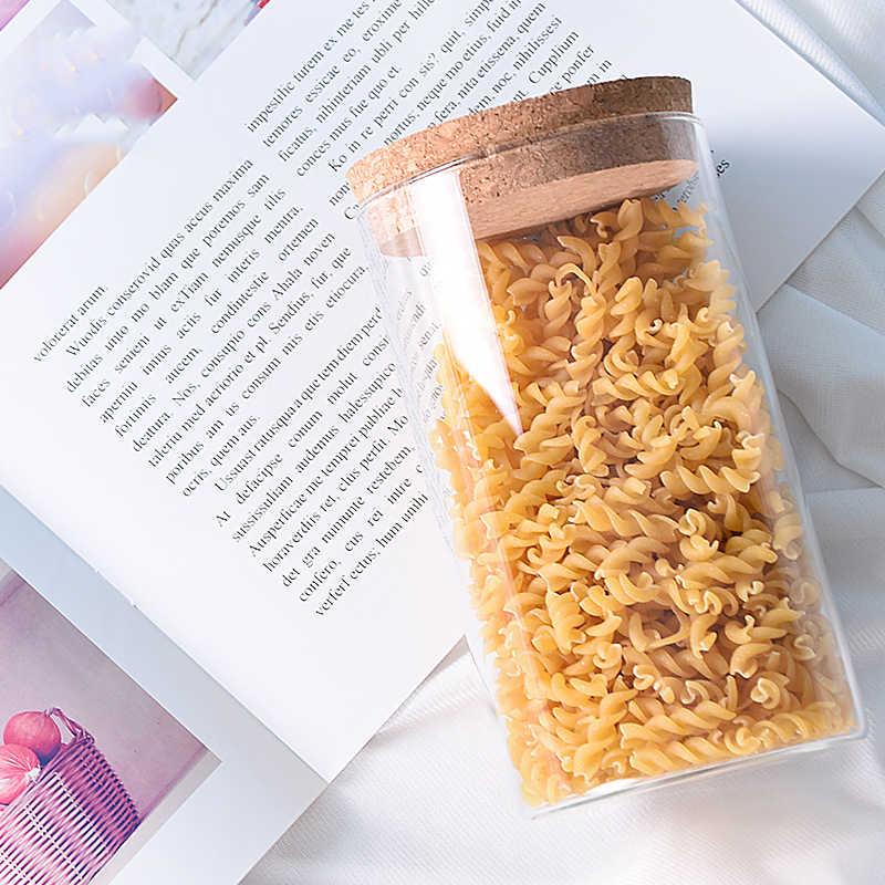 9 Ukuran Toples Kaca dengan Tutup Gabus Kolom Kedap Udara Tabung Penyimpanan Botol Toples Biji-bijian Daun Teh Biji Kopi Permen Makanan jar