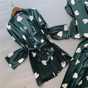 Image 2 - 3 Pcs ผู้หญิงผ้าไหมน้ำแข็งชุดนอน Polka ผลไม้หวานเสื้อกั๊กกางเกงชุดชุดนอน
