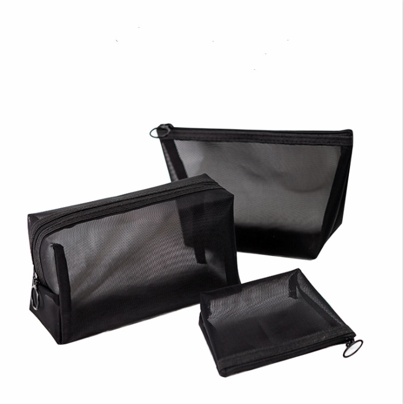 1Pc Women Men Neceser Cosmetic Bag Transparent Grid Travel Makeup Case Small Black Toiletry Makeup Organizer Bags Case Pouch