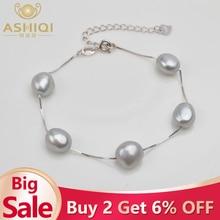 ASHIQI из натуральной 925 пробы серебряный браслет 9-10 мм белый серый натуральный пресноводный барочный жемчуг ювелирные изделия для женщин