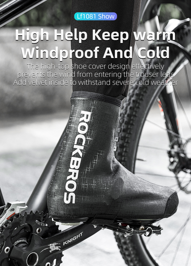 ROCKBROS Winter Cycling Reflective Lycra Waterproof Warm Shoes Cover Overshoes