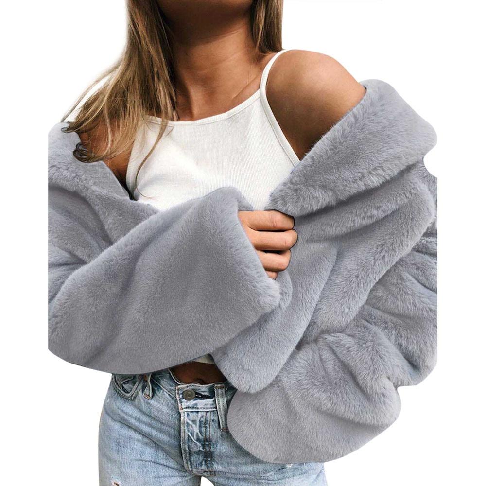 JAYCOSIN Women's Coat Fashion Women Winter Coat Keep Warm Outerwear Loose Faux Fur Coat Outwear woman faux fur coats 2020