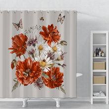Занавеска для душа из полиэстера с принтом цветов и бабочек
