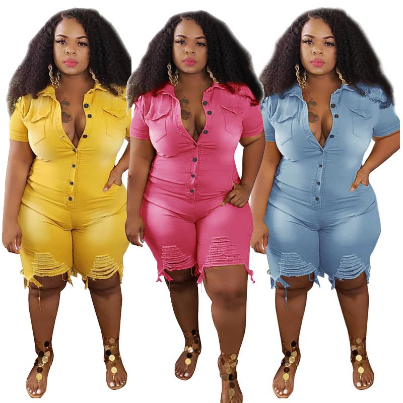 Plus Size Clothing Jeans Jumpsuits Women S 5XL Short Sleeve Bodysuit Ripped Denim Shorts Jumpsuits Wholesale Dropshipping