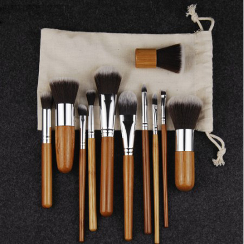 11PCS Bamboo Makeup Brushes Set With Cloth Bag Cosmetics Face Foundation Brush Powder Blusher Eyeshadow Beauty Blending Tool Set