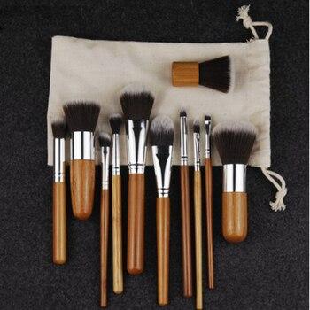 11PCS Bamboo Makeup Brushes Set With Cloth Bag Cosmetics Face Foundation Brush Powder Blusher Eyeshadow Beauty Blending Tool Set