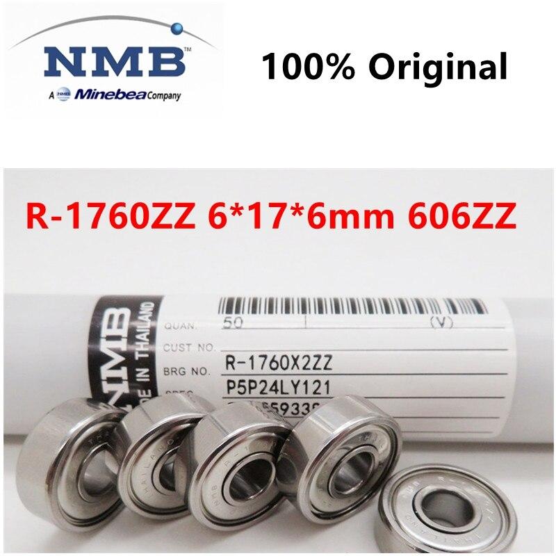 20 шт/100 шт NMB Minebea высокоскоростной подшипник R-1760ZZ 6*17*6 мм 606ZZ прецизионные Миниатюрные шарикоподшипники 6 мм x 17 мм x 6 мм