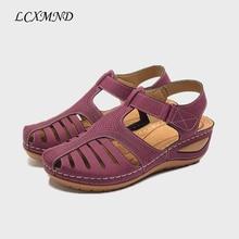Lcxmnd женские летние кожаные старинные сандалии с пряжкой повседневная