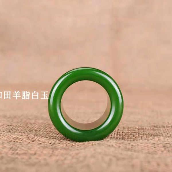 แหวนหยกแท้สีเขียวธรรมชาติ Heart Meridian Jadeite พระพุทธรูป Amulet แฟชั่น Charm เครื่องประดับแกะสลักงานฝีมือของขวัญสำหรับผู้หญิงผู้ชาย