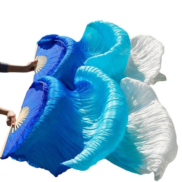 Belly Dance Veil Fans RealImitation Silk Fan Bamboo Ribs Handmade Dyed Performance Fan Belly Dance Silk Chinese Fans New