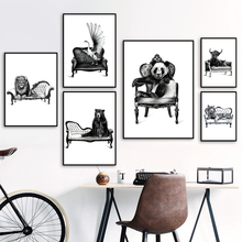 Wall Art Zebra Tiger Panda Bear Lion Black White Nordic Posters And Prints Wall Pictures For Living Room Decor Canvas Painting lion zebra elephant cow nordic animal posters and prints wall art canvas painting decorative pictures for living room home decor