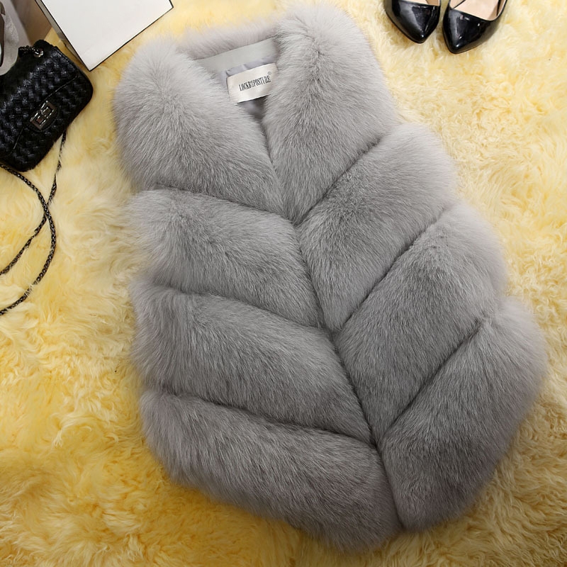 2019 New Fashion Winter Faux Fur Coat Women Waist Coat Fur Gilet Fur Vest For Ladies Women's Fur Vest
