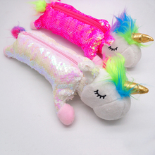 Reversible Sequin Unicorn Pencil Case Kawaii Plush For Girl School Bag Cute Box Pen Pouch Stationery Supplies