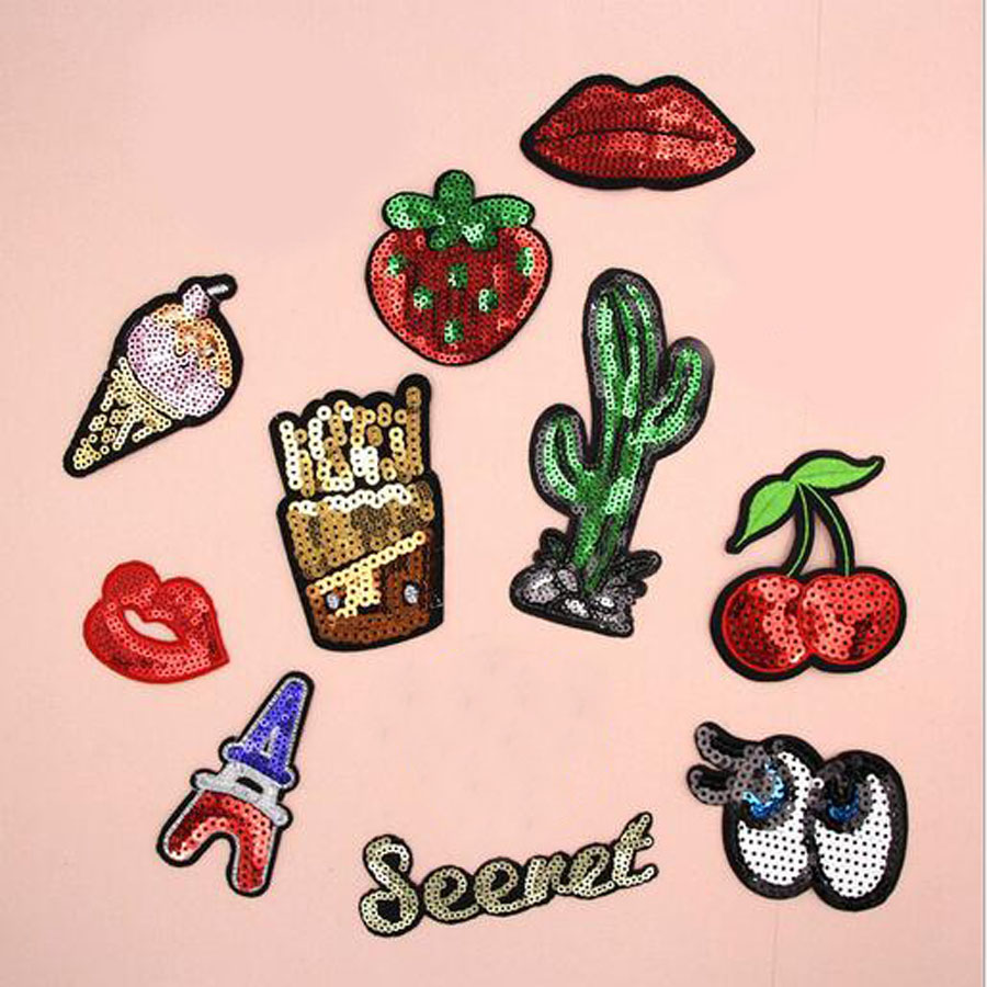 Paillette Sequins Embroidered Mouth Cartoon Patch Clothes Stickers Bag Sew Iron On Applique DIY Apparel Sewing Clothing BU37