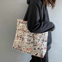 Bolso de lona de gran capacidad para mujer, bolsas de compras ecológicas, de algodón, Vintage, japonés, 2020
