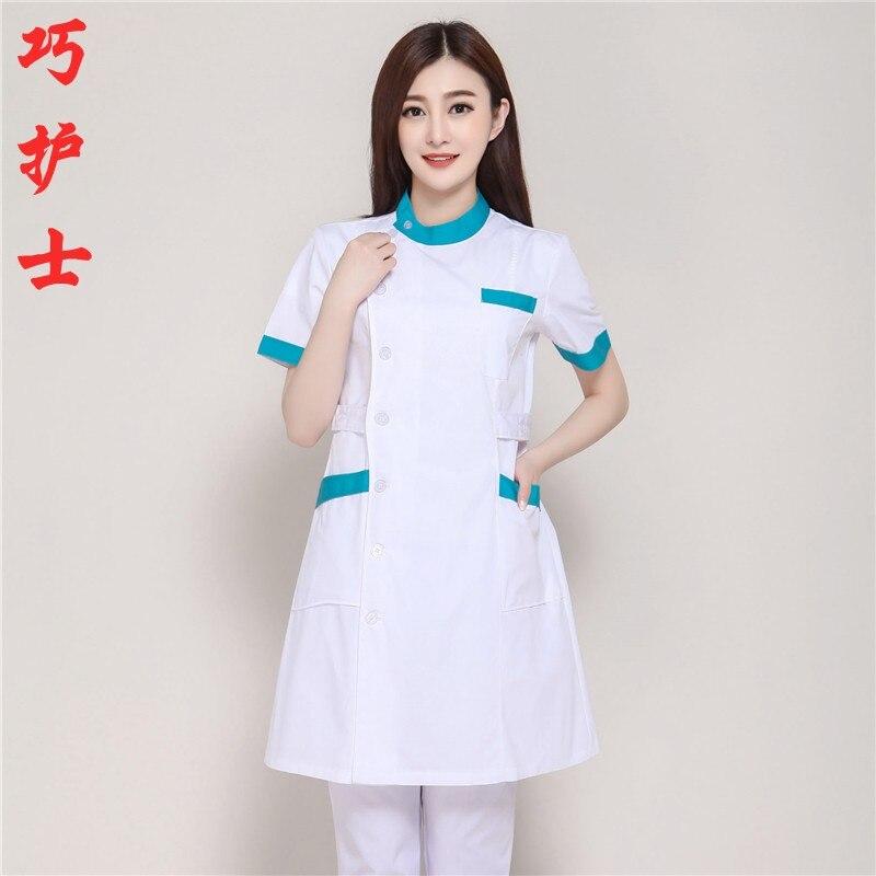 Nurses Summer Short Sleeve Beauty Suit Medical Doctors Collar White Lab Coat Qiao Series