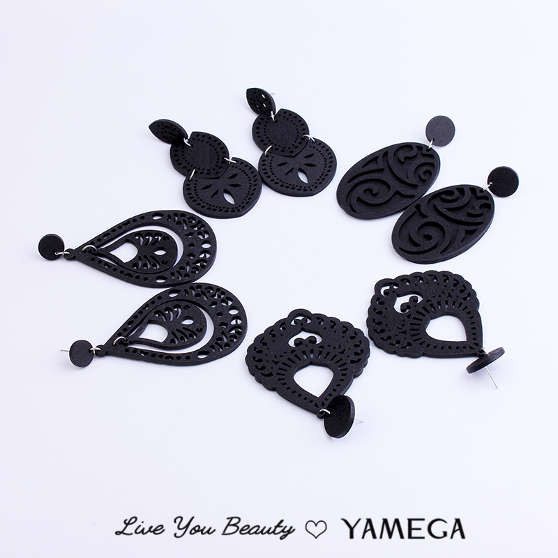 New Vintage Wooden Black Earrings Statement Popular Hollow Personality Style Fashion Boho Jewelry Drop Earring For Woman Gifts