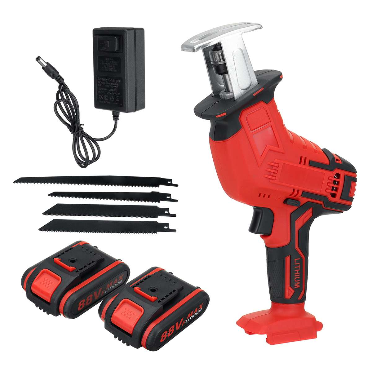 Tools : Drillpro 88V Cordless Reciprocating Saw Portable Replacement Electric Saw Metal Wood Cutting Machine Tool For 18V makita Battery