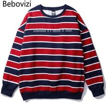 Bebovizi Fashion Hip Hop Red Stripe Hoodie Sweatshirt Streetwear Harajuku Autumn Men Casual Couple Pullover 2019