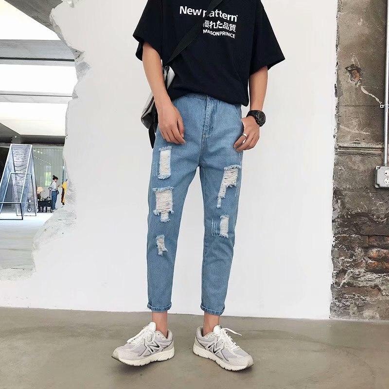 MEN'S Jeans Capri Elasticity Summer Trend Slim Fit Korean-style With Holes 9 Small Straight Leg Versatile Pants
