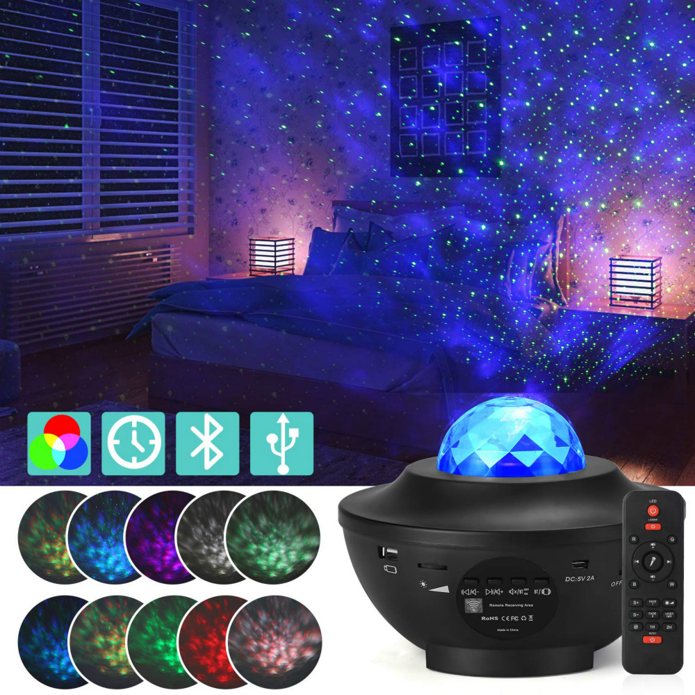 Ocean Wave LED Projector Lamp Blueteeth Remote Controller Music Player Colorful Star Rotating USB Night Light For Kids Baby Gift