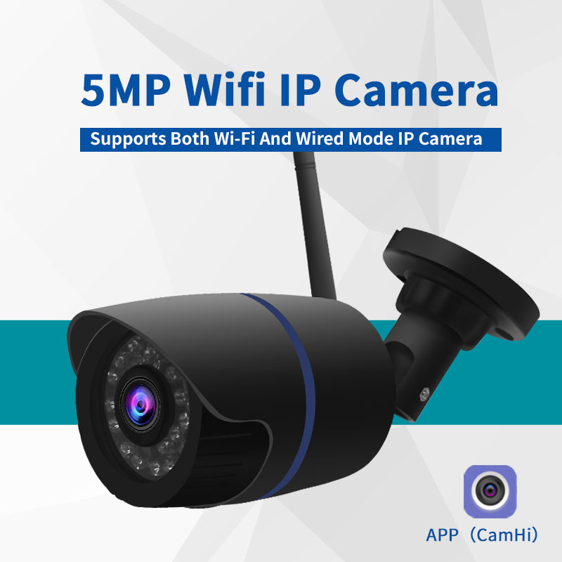 5MP Wifi IP Camera ONVIF Wireless Bullet Camera Outdoor SD Card Audio 1920*1080 Night Vision 30m APP CamHi