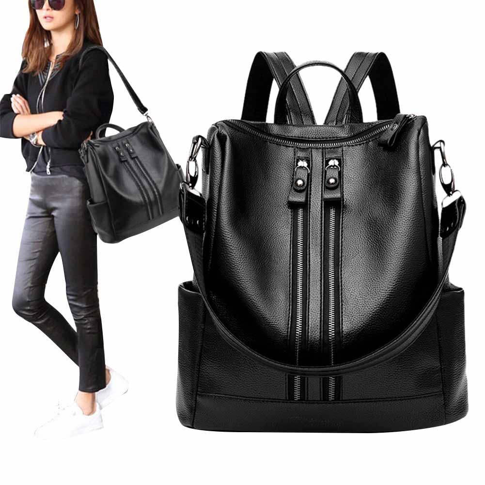 Anti-theft Women Backpack PU Leather Waterproof Black School Bag Double Zip Portable Travel Shoulder Bag