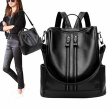 Anti-theft Women Backpack PU Leather Waterproof Black School Bag Double Zip Portable Travel Shoulder Bag