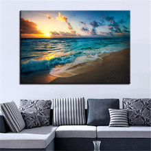 Beach Sunset Oil Painting Art Poster Living Room Home Decoration Poster Print Canvas Picture Frameless Oil Painting