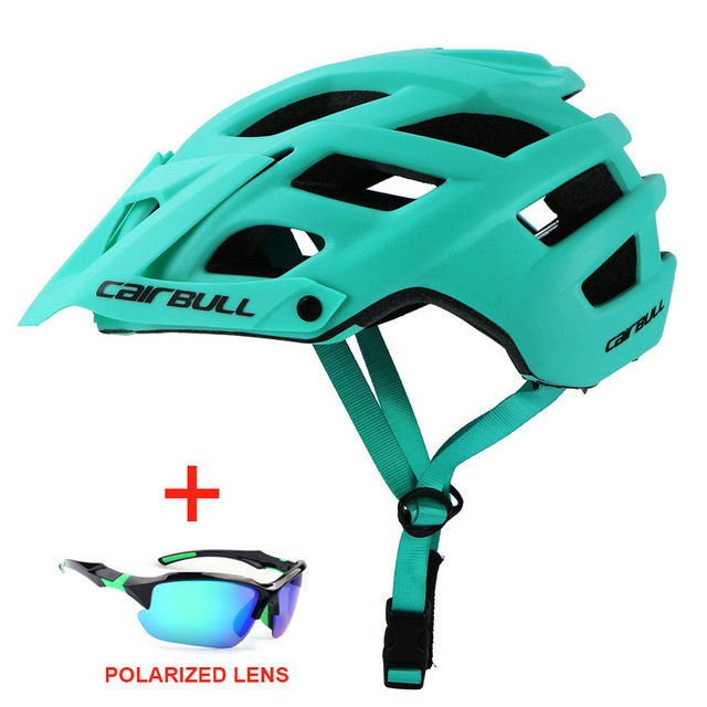 Capacete de bicicleta com óculos de sol integralmente-moldado estrada da bicicleta mtb capacete das mulheres dos homens esportes ao ar livre equitação ciclismo capacete 2