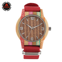REDFIRE Fashion Red Nylon Watch Band Wood Watch Men Women Wristwatches Quartz Movement Casual Wooden Clock reloj de madera casual moose men bamboo wooden watch genuine leather strap male quartz watch erkek deer head elk wristwatches reloj de madera