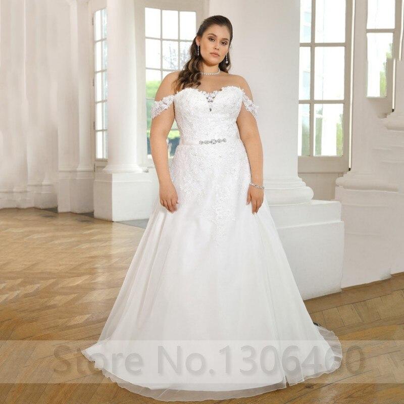 Off Shoulder Sweetheart Plus Size Customized Wedding Dress For Big Size Women Applique Lace Up Back Bride Dress Vestido De Noiva