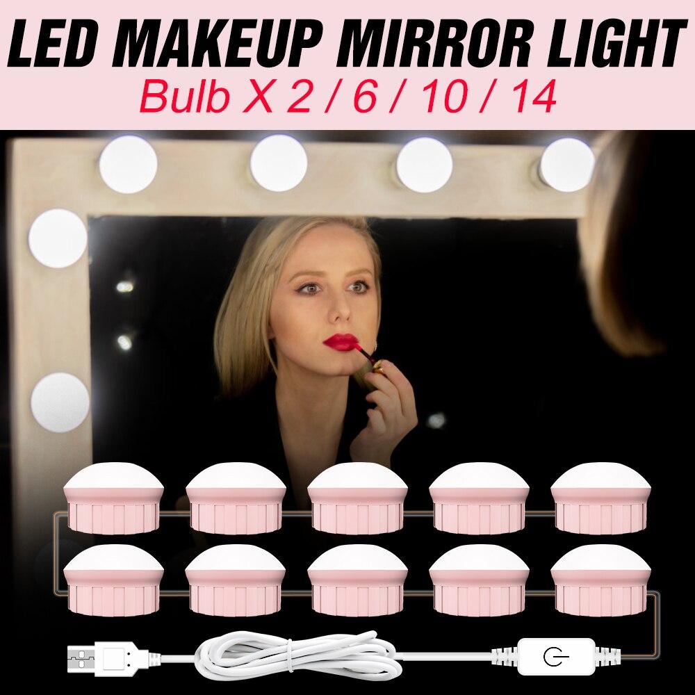 USB 12V LED Makeup Mirror Light Bulb Hollywood Vanity Lights Stepless Dimmable Wall Light 2 6 10 14Bulbs Kit For Dressing Table