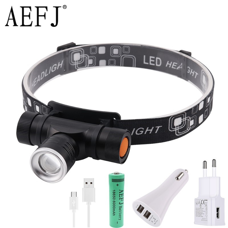 1000LM XML T6 LED Headlamp 3-Mode Zoom Headlight USB Charge Head Torch Camping Flashlight Hunting Frontal Lantern Lamp Light