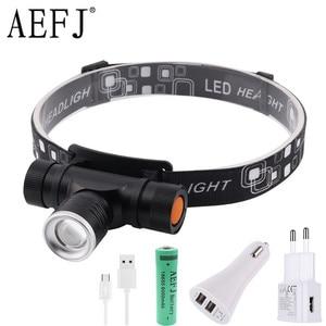 Image 1 - 1000LM XML T6 LED Headlamp 3 Mode Zoom Headlight USB Charge Head Torch Camping Flashlight Hunting Frontal Lantern Lamp Light