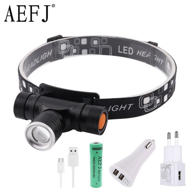 1000LM XML T6 LED Headlamp 3 Mode Zoom Headlight USB Charge Head Torch Camping Flashlight Hunting Frontal Lantern Lamp Light