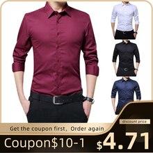 Мужская модная повседневная Однотонная рубашка с длинным рукавом, тонкая версия, мужская деловая рубашка, брендовая мягкая мужская одежда