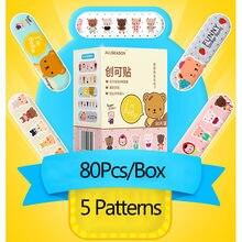 Kit de premiers secours pour enfants, Bandages respirants, résistants à l'eau, avec 5 motifs de dessin animé, Kit d'urgence, 80 pièces