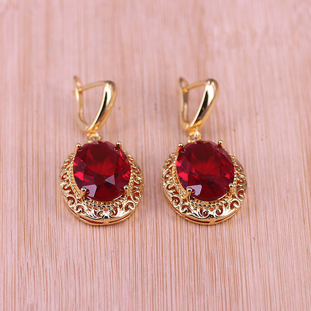 Risenj Dubai Luxury Style Many Colors Big Red Stone Gold Color Jewelry For Women Adjustable Ring Necklace Set Free Shipping 5