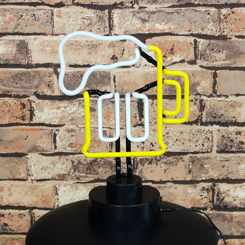 Classic Handcrafted Full Color Lights  Beer Logo Neon Signs Goblet Shape Real Neon Glass Tube Sign On Table Lights